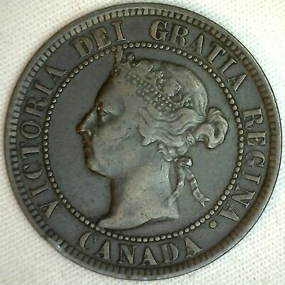 1899 Copper Canadian Large Cent Coin 1-Cent Canada K23