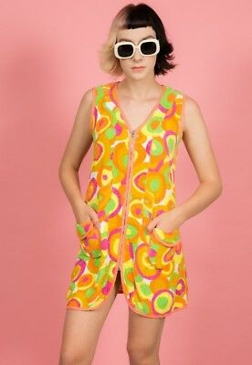60s vintage multi coloured psychedelic towel dress mini mod scooter gogo dress