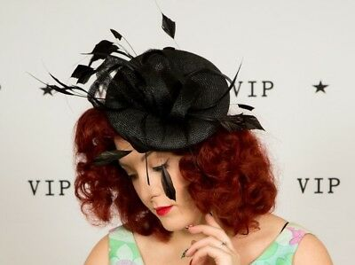 Beautiful black feather saucer hat fascinator The British Hatter Wedding Races