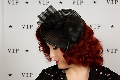 Beautiful black feather bow fascinator wedding races Special occasion