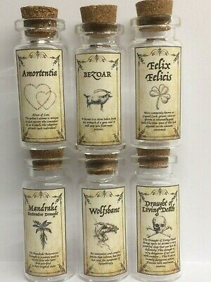 6 X Harry Potter Inspired Potion Bottle Set 10 Ml 2 Inch Bottle