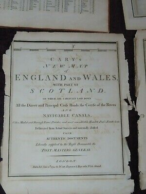 1794 JOHN CARY NEW MAP of ENGLAND & WALES 20 sheets & LIST OF PLACES ATLAS