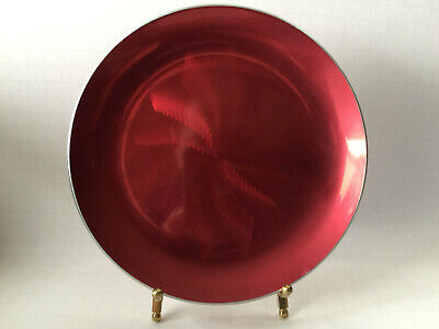 "Eloxsoren Norway Round Aluminum Plate Tray Watermelon Red Enamel 7 1/4""D"