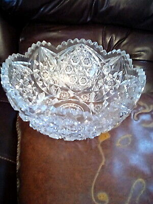 "Large Heavy Vintage Antique Crystal Cut Glass Bowl//9""Wd./Ex.cond.approx.5Lb."