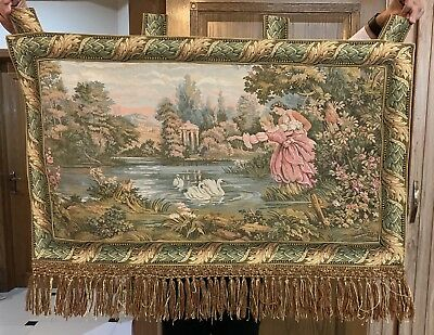 Antique French Tapestry Wall Hanging Aubusson Style - 72 By 93 Cm