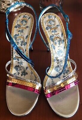5f89c86bf2ba GUCCI TURQUOISE LEATHER Heels With Bamboo Size 10 NEW WITH BOX ...