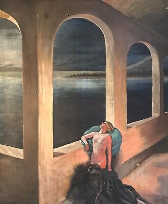 Huge 1920's/30's French Signed Oil - Nude Lady Moonlit Terrace Overlooking Coast