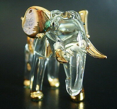 Curio Display Glass ELEPHANT African Animal Painted Glass Ornament Blown Glass