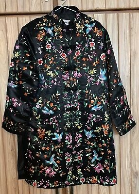 """Antique Chinese Hand Embroidered Robe Good Condition Chest 44"""" Lengths 38"""""""