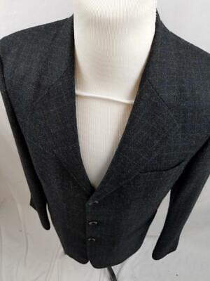 Nautica Mens 38R Gray Window Pane Plaid 3 Button Blazer Jacket Coat Wool Alpaca