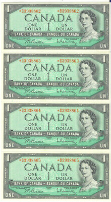 Bank of Canada 1954 $1 One Dollar Lot of 4 Consecutive Replacement Notes AU/UNC