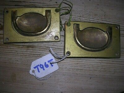 Pair Of Antique Brass Inset Handles (T96T)
