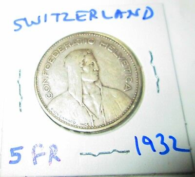 Switzerland 5 Francs Silver 1932 William tell  Shield flanked by Sprigs .4027ASW