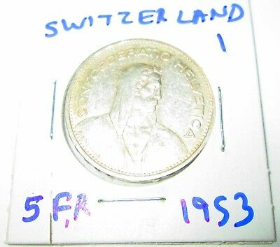 Switzerland 5 Francs Silver 1953 William tell  Shield flanked by sprigs #1