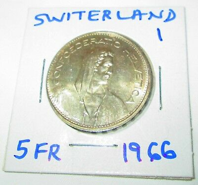 Switzerland 5 Francs Silver 1966 William tell  Shield flanked by Sprigs #1