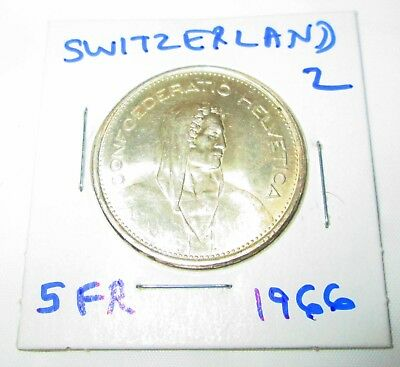 Switzerland 5 Francs Silver 1966 William tell  Shield flanked by Sprigs #2