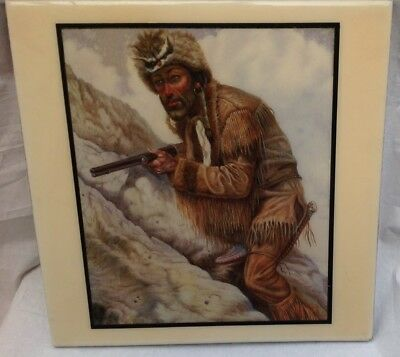 Vintage Decorative Ceramic Tile Old West American Mountain Man Trapper