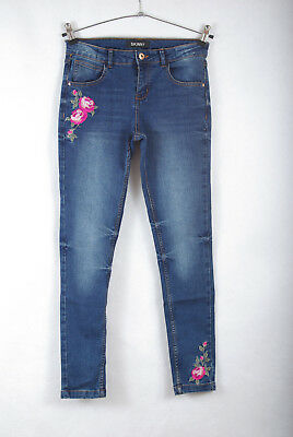 P386/73 Miss e-vie Blue Cotton Roses Embroidered Skinny Jeans, age 14, 164 cm