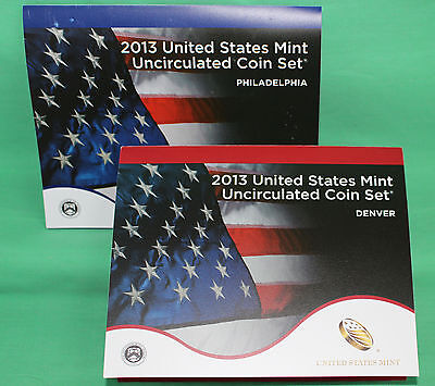 2013 ANNUAL US Mint Uncirculated Coin Set 28 P and D Minted Coins with COA