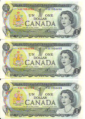 Bank of Canada 1973 $1 Dollar Lot of 3 Consecutive Replacement Notes GEM UNC
