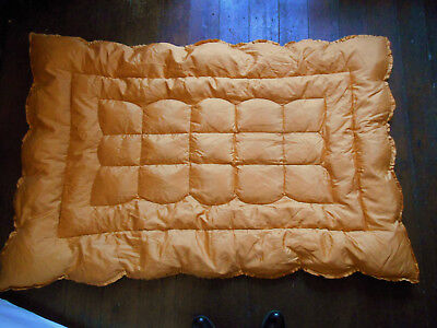 Antique Apricot Vintage Eiderdown Feather Blenhem Landsdown Quilt Taffeta Orange