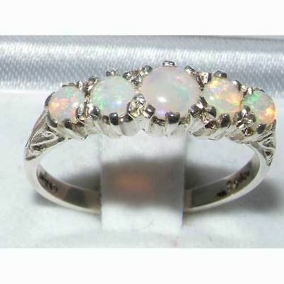 Hallmarked Solid Sterling Silver Colourful Natural Fiery Opal Antique Style Ring