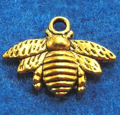 16 Bee Charms Antique Gold Tone Two Sided GC084