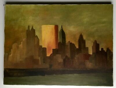 Old Manhattan Cityscape Painting 1965 Signed by Fran Oil on Canvas [AH453]