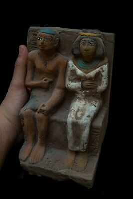 Rare Ancient EGYPTIAN ANTIQUES STATUE of King Amenhotep III and Queen Stone, BC