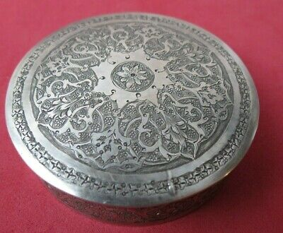 Beautifully Decorated Antique Persian Solid Silver 84 Small Round Lidded Box
