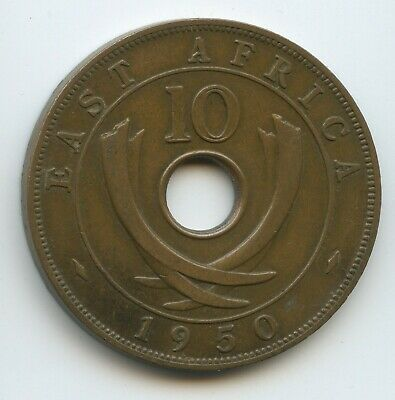 G11772 - British East Africa 10 Cents 1950 KM#34 King George VI. Ostafrika