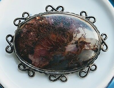 Vtg Antique British Scottish Sterling Silver Moss Agate Brooch Very Large