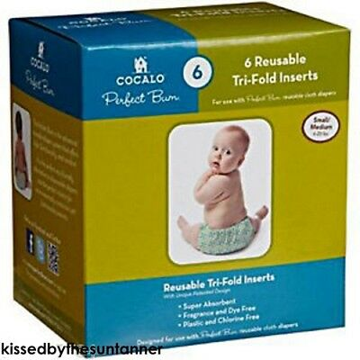 NEW 6pc COCALO Perfect Bum Reusable Cloth Diapers (Tri-fold Inserts) Sm/Med