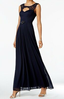 0461ab63248b Betsy & Adam NEW Blue Floral Lace Sequin Women's 6 Maxi Gown Dress $139 #159