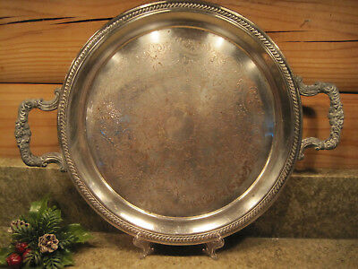 Vintage FB Rogers Silverplate Silver on Copper Round Tray w/ Handles 12.25""