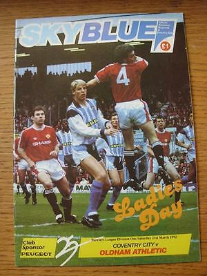 21/03/1992 Autographed Programme: Coventry City v Oldham Athletic  [Signed By 2]