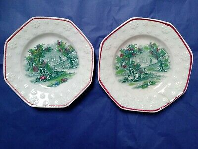 Pair Antique C19th pearlware Staffordshire childs nursery plates daisy border