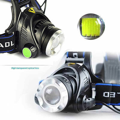 12000LM Zoom X-XML T6 LED 18650 Headlamp Torch Headlight Rechargeable Lamp *DF