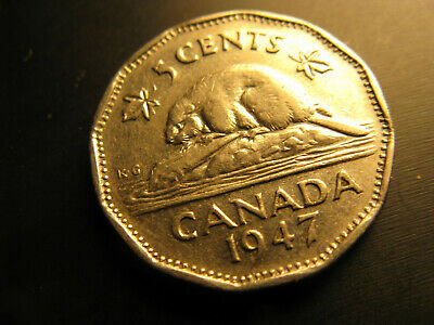 Canada 1947 No Maple  Leaf Variety 5 Cent Coin.