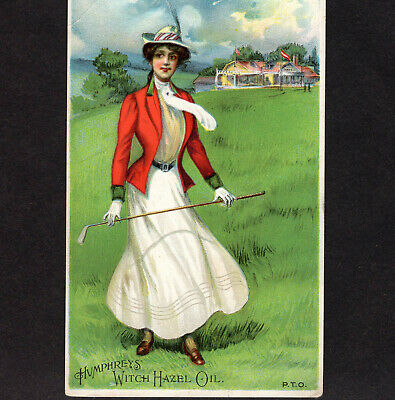 Golf Country Club 19th Century Sports Card Lady Witch Hazel Cure-All Oil Remedy