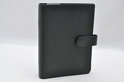 Auth Louis Vuitton Taiga Agenda MM Day Planner Cover Ardoise Black LV C9612749B