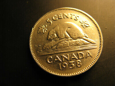 Canada 1938 5 Cent Coin.