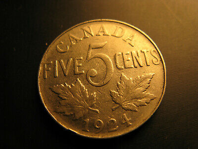 Canada 1924 5 Cent Coin.