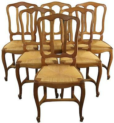 Dining Chairs Louis Xv Rococo Set 6 Vintage French 1950 Oak Rattan