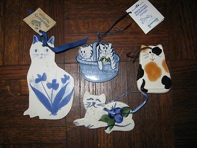 4 Handcrafed Cat Ceramic Tile Ornaments Incl Brick Pond Blueberry Muffn & August