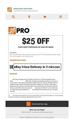 ONE--1x Home Depot $25 off $200Coupon In-Store Only--SENT--FAST--3mins--