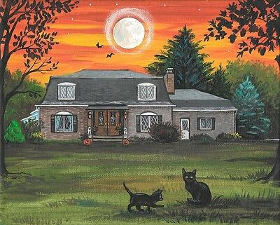 8X10 Print Of Painting Ryta Halloween Landscape Black Cat Haunted House Autumn