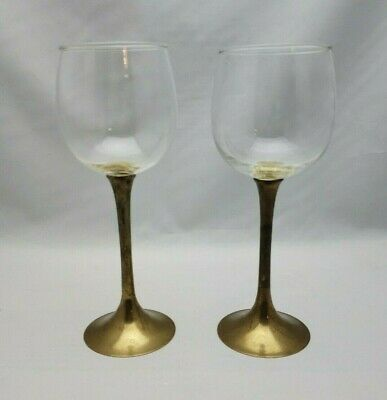 "Vintage Glass & Brass Stemmed Wine Glasses Pair Two 8"" Tall"