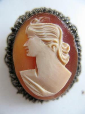 Lovely 1940S Vintage Gold Filled High Relief Hand Carved Shell Cameo Pin Pendant