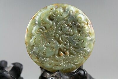 2'' Chinese old green nephrite jade hand-carved dragon Phoenix pendant 0658